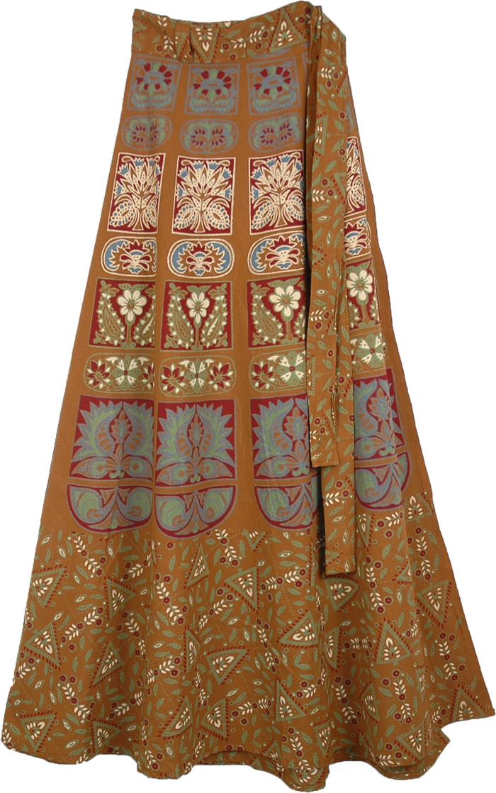 Indian Wrap Around Skirt In Brown, Rope Brown Long Tie Around Skirt