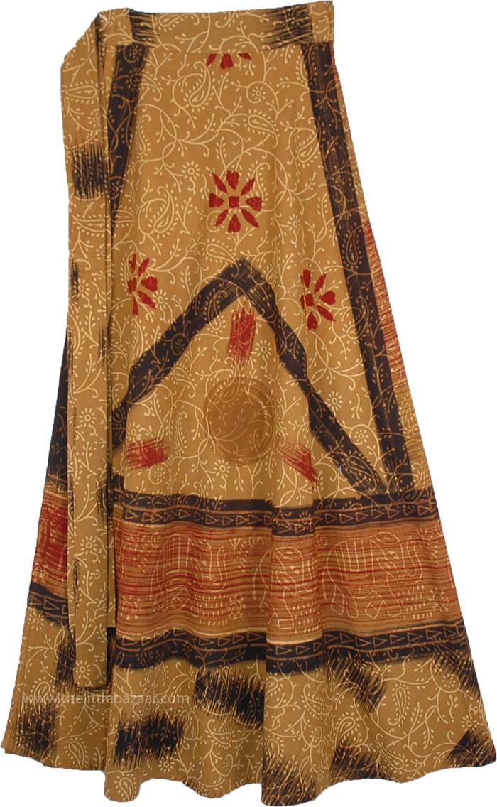 Batik Printed Desert Wrap Around Skirt, Enchanted Elephant Ethnic Wrap Cotton Skirt