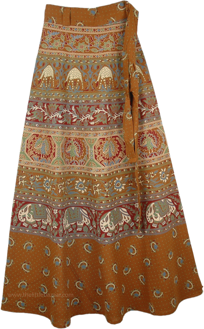 Animal Parade Long Skirt in Russet, The Indus Animals Block Ethnic Wrap Skirt