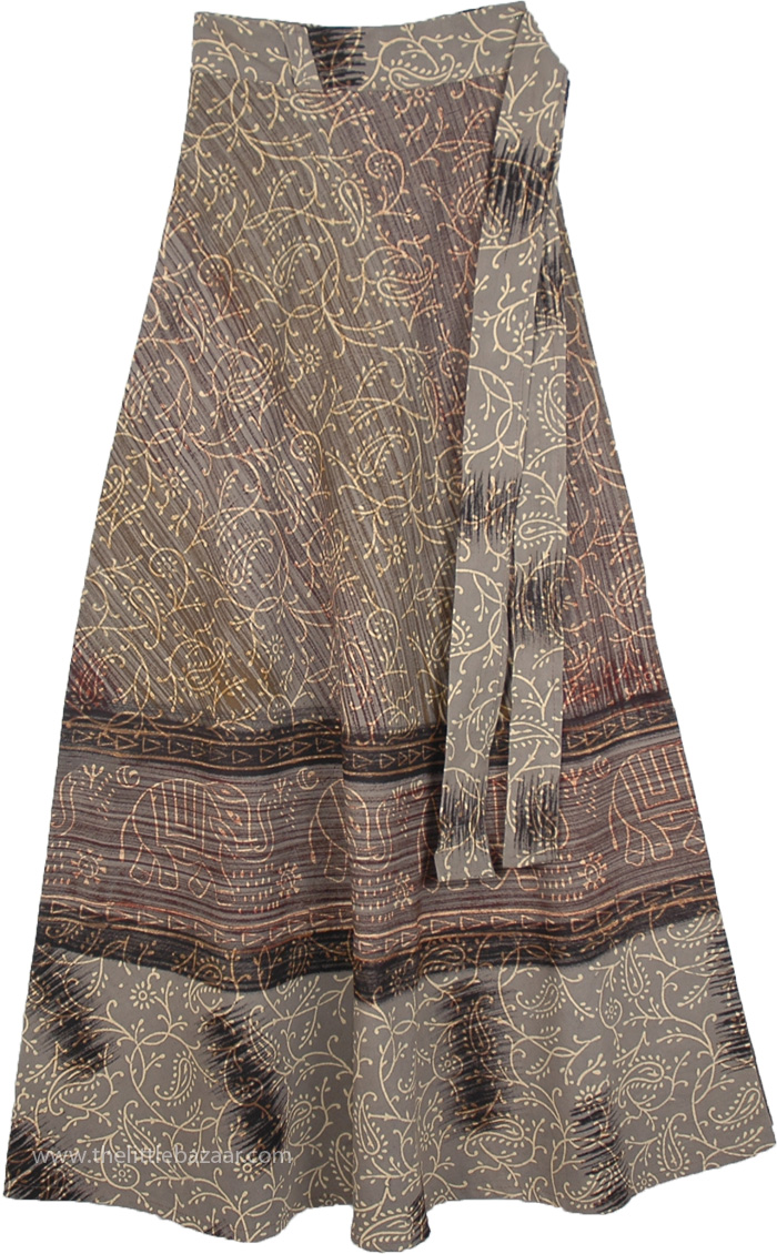 Cotton Long Skirt With Ethnic Print, Eclipse Long Wrap Around Skirt