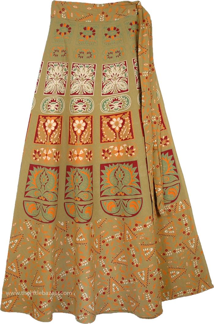 Gypsy Hippie Wrap Around Skirt In Dull Green, Barley Corn Long Tie Around Skirt
