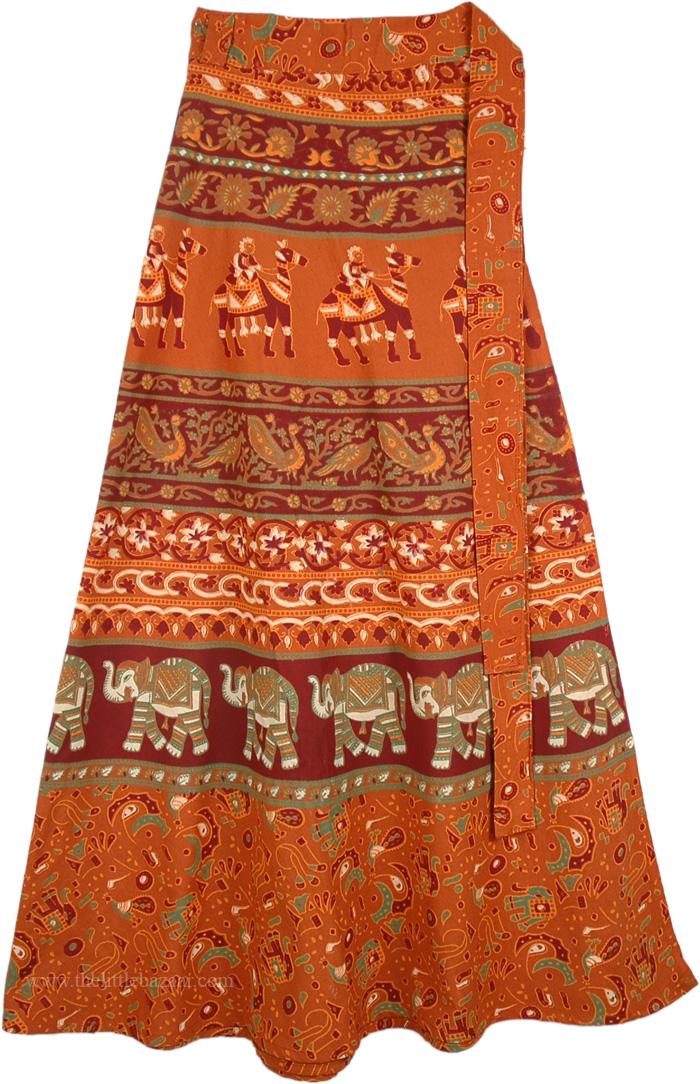 Orange Wrap Long Skirt, Heath Oregon Long Wrap Skirt