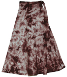 Cocoa Brown Tie Dye Calf Length Skirt
