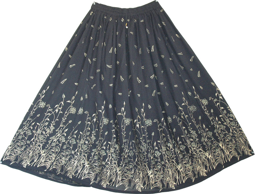 Designer long skirt with golden block print - This long black skirt is perfect evening wear in any weather, Designer Evening Black Golden Sexy Long Skirt