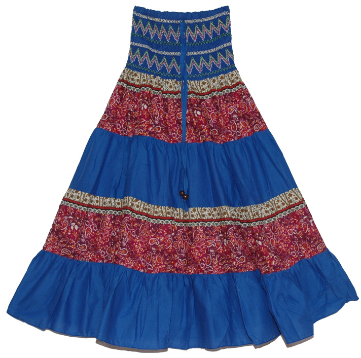 Striped Dark Blue Long Skirt, Sapphire Blue Summer Long Skirt Dress