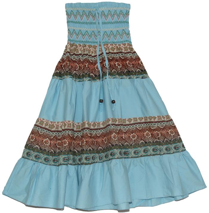 Striped Light Blue Long Skirt, Glacier Light Blue Summer Long Skirt Dress