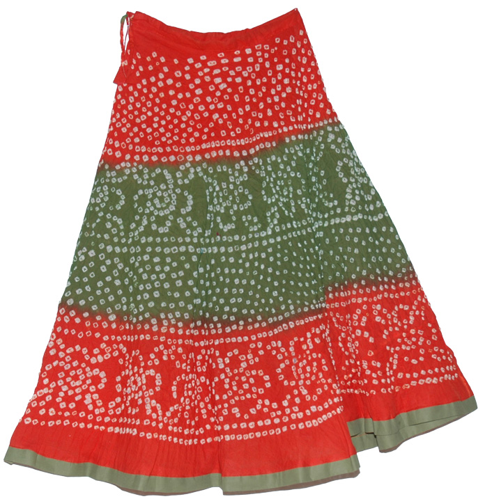 Ethnic Orange Green Indian tie dye skirt summer long skirt, Crimson Tie Dye Long Skirt
