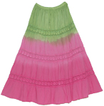 Tie Dye Long Skirt Olivine Charm