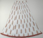 White Orange Crinkle Summer Long Skirt