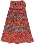 Long Wrap Around Skirt in Red Cardinal