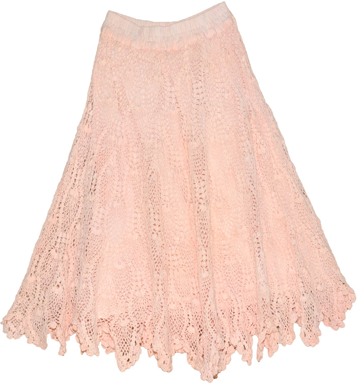 Stylish Baby Pink Crochet Skirt Crochet Clothing