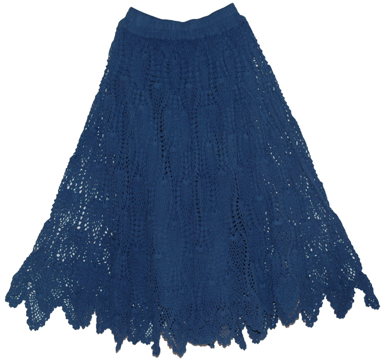 Crochet Skirt : Blue Crochet Skirt , Stylish Crochet Cotton Long Skirt Navy