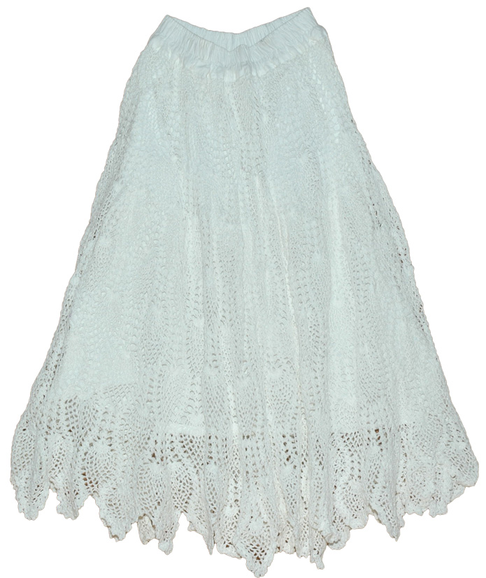Pure White Long Crochet Skirt White Skirts 29l Crochet Clothing