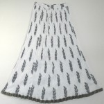 White Black Crinkle Summer Long Skirt
