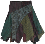 Enviro Boho Fringed Patch Work Skirt