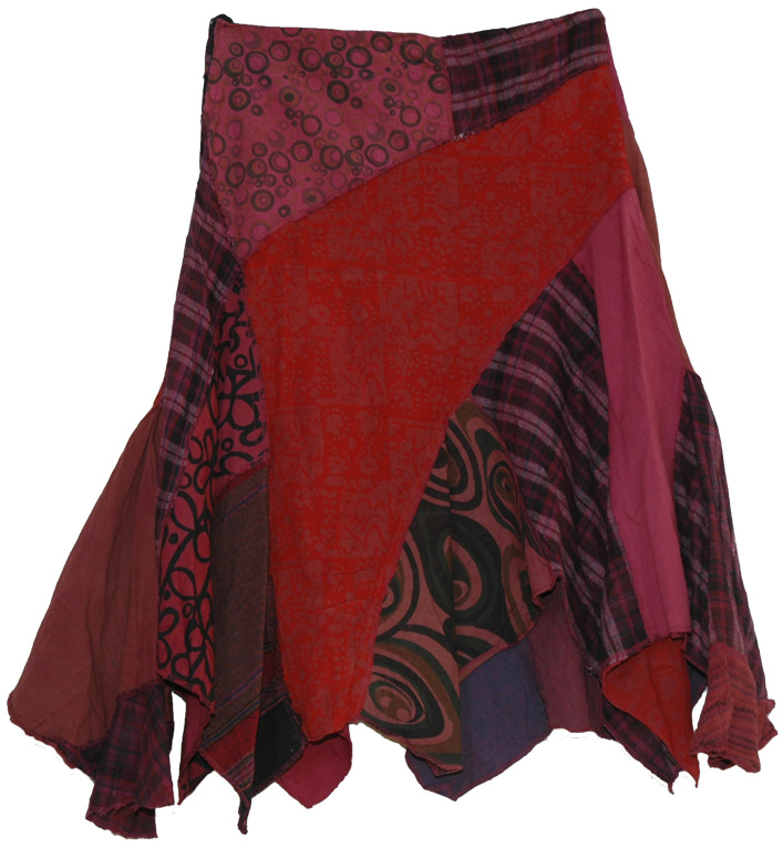 Tibetan Multicolor Patchwork Skirt, Tribal Patch Work Uneven Cotton Skirt