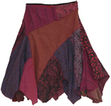 Tribal Patch Work Fringed Cotton Skirt