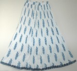 White Blue Crinkle Summer Long Skirt