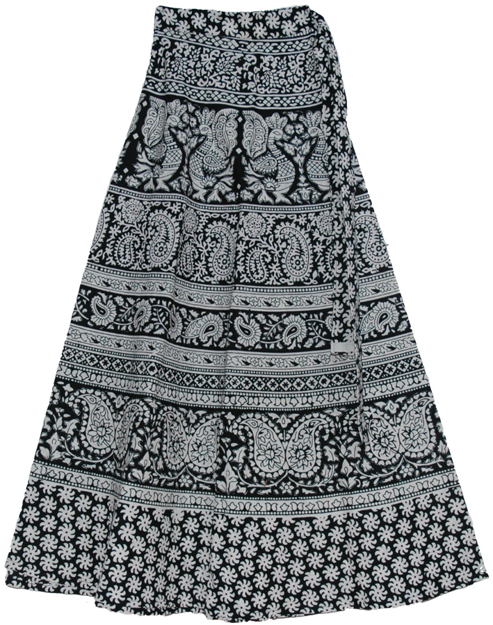 c874be3f7 Indian Cotton Long Skirt With Ethnic Print, Royal Black White Wrap Around Long  Skirts