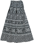 Royal Black White Wrap Around Long Skirts