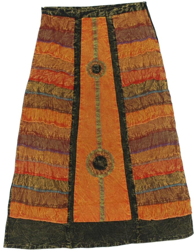 Boho Stonewash Solar Frontal Skirt , Piper Orange Panel Boho Skirt