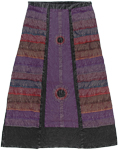 Wine Berry Front Panel Boho Long Skirt