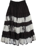 Black Tie Dye Skirts White Streaks