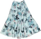 Printed Butterfly Summer Long Skirt