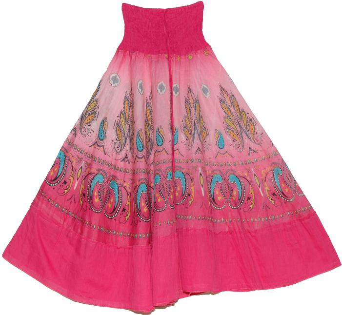 Pink Flowy long skirt, Charm Pink Mosaic Smock Boho Skirt
