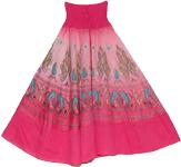Charm Pink Mosaic Smock Boho Skirt