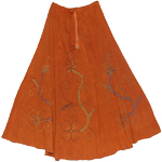 Cognac Embroidered Full Skirt