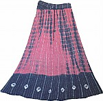 Pink Blue Tie Dyed Ethnic Long Skirt