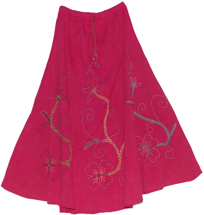 Winter Maroon Skirt in Heavy Cotton, Maroon Flush Embroidered Full Skirt