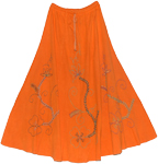 Fiery Orange Tango Hippie Fall Winter Full Skirt