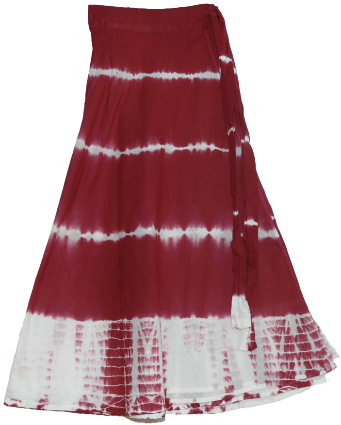 Red Tie Dye Wrap Skirt, Crown Tie Dye Wrap around Skirt in Dark Red