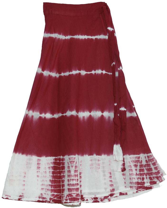 Red Tie Dye Wrap Skirt, Crown Tie Dye Wrap around Skirt in Dark Red