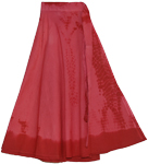 Red in Red Tie Dye Wraparound Skirt