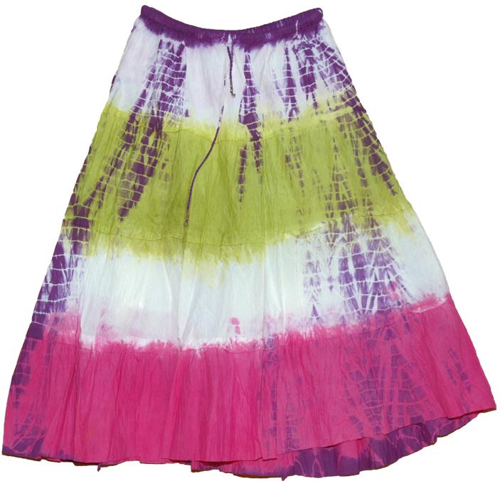 Pink Green White Tie Dye Skirt, Popsicle Tie Dye Skirt