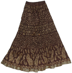 Crinkle Long Skirt in English Walnut Brown