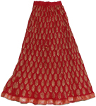 Tamarillo Long Gypsy Crinkle Cotton Skirt