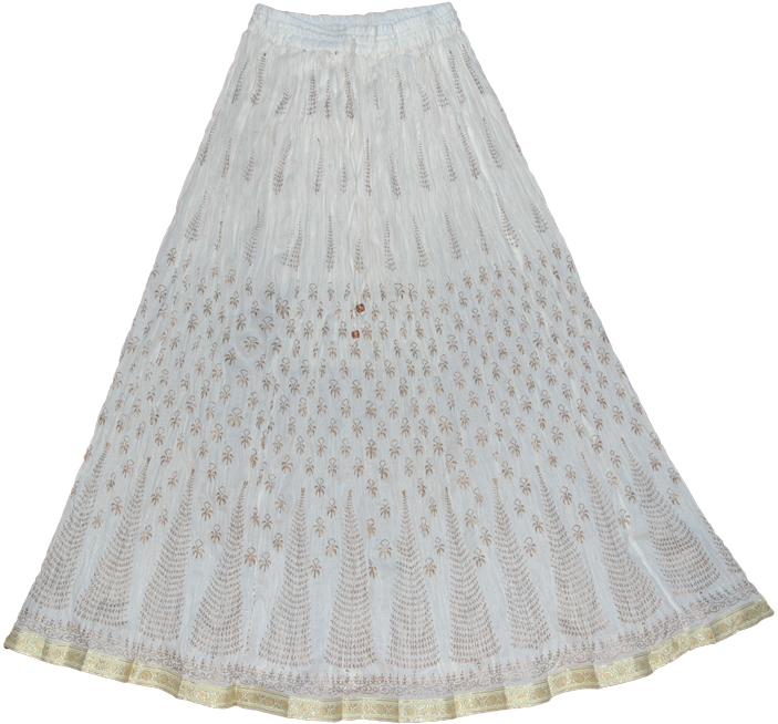 White Crinkle Skirt 8