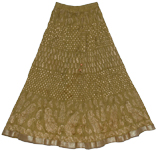 Crinkle Long Skirt in Olive Pesto Color