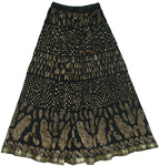 Woodsmoke Black Crinkle Long Skirt