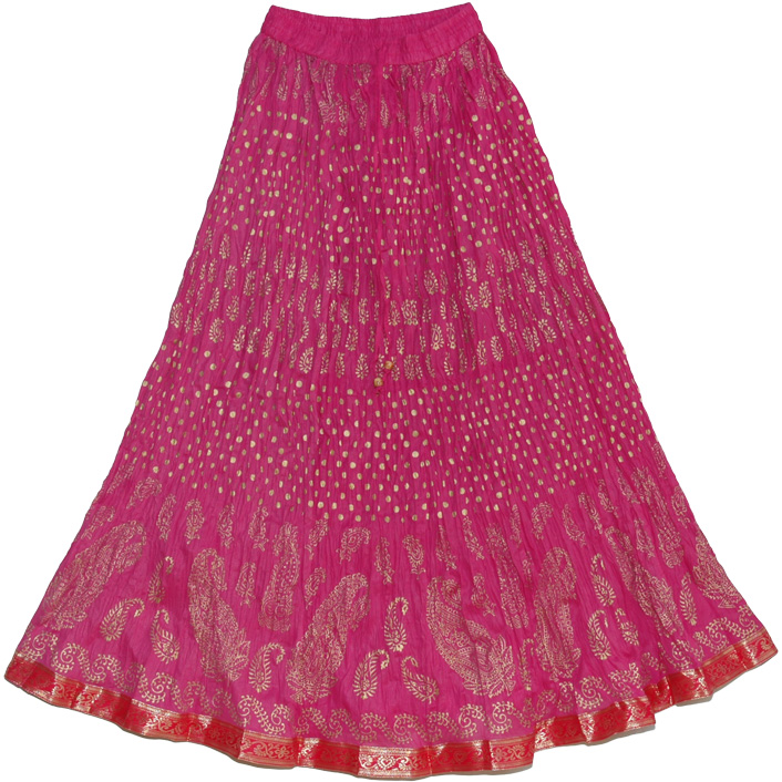Hibiscus Maroon Crinkle Indian Long Skirt