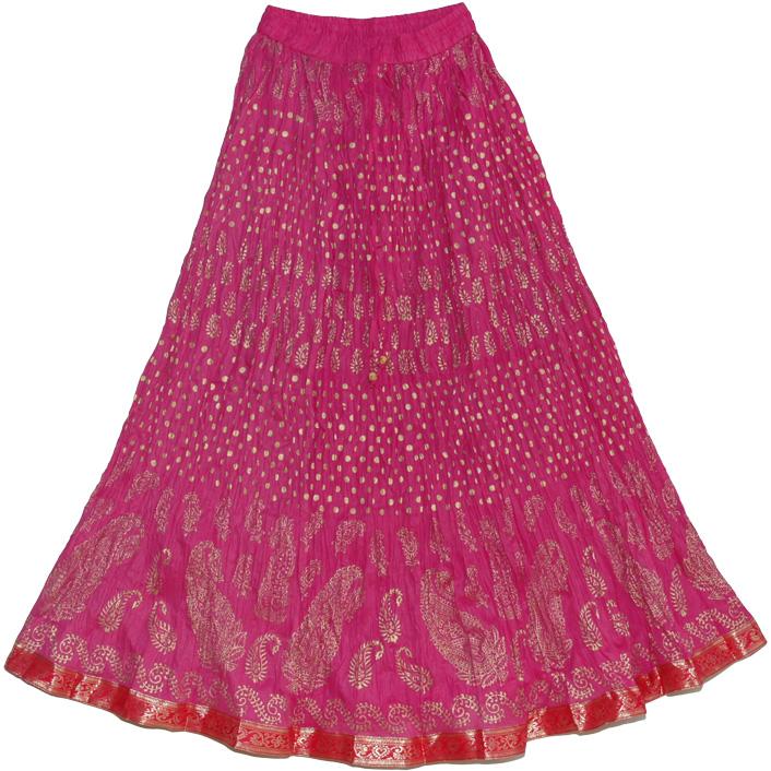 Hibiscus Maroon Crinkle Indian Long Skirt | Clothing | Crinkle 38L