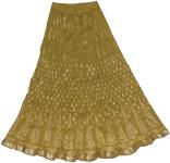 Golden Block Print on Olive Crinkle Skirt