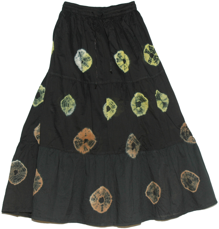 Black Tie Dye Circles Indian Long Skirt, Nebula Tie Dye Black Long Skirt