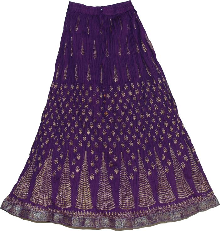 Blue Crinkle Long Indian Skirt, Grape Decor Crinkle Long Skirt