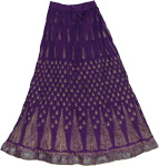 Grape Decor Crinkle Long Skirt