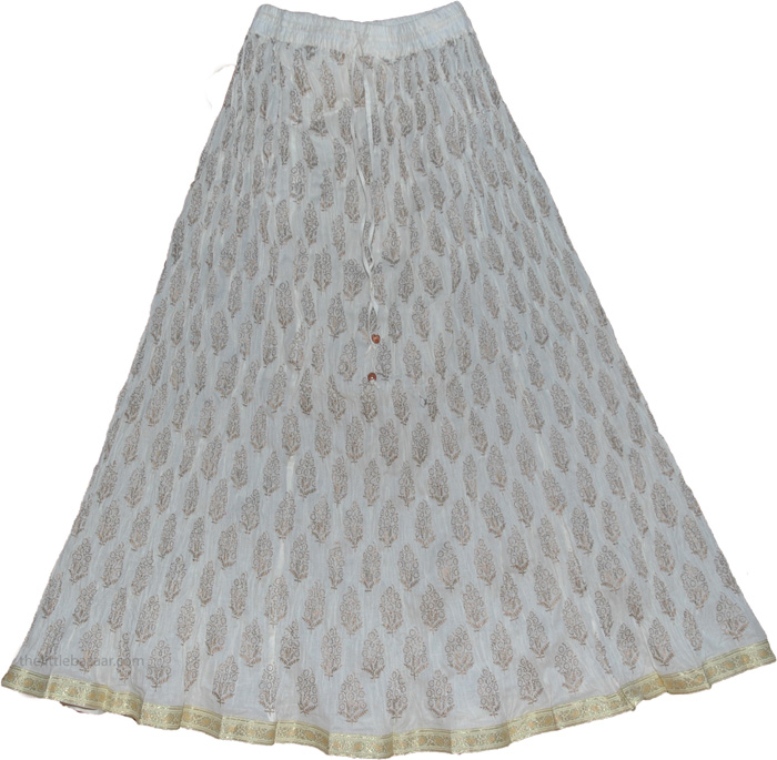 White Crinkle Long Indian Skirt - Clothing - Sale on bags, skirts ...